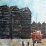 Hastings Huts with red boat by Anna Wilson-Patterson, Painting, Oil on canvas