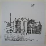 Hastings Net Huts and Boat by Anna Wilson-Patterson, Painting