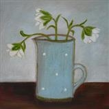Hellebores In Blue Spotty Jug by Anna Wilson-Patterson, Painting, Oil on Board