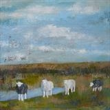 Herdwick Sheep At Winchelsea Beach by Anna Wilson-Patterson, Painting, Oil on Wood