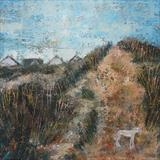 Honey At Camber Dunes by Anna Wilson-Patterson, Painting, Oil on Wood