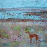 Hound Amidst Teasels, Wader Pool, Rye Harbour by Anna Wilson-Patterson, Painting, Oil on Wood
