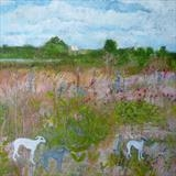 Hound Day Trippers At The Nature Reserve by Anna Wilson-Patterson, Painting, Oil on Wood