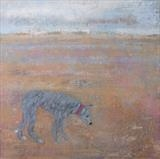 Huge Hairy Dog Winchelsea Beach by Anna Wilson-Patterson, Painting, Oil on panel