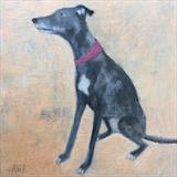 Lovable Lurcher by Anna Wilson-Patterson, Painting, Oil on Wood