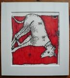 Lurcher Asleep on Red Blanket by Anna Wilson-Patterson, Artist Print, Hand Print