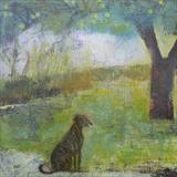 Lurcher At Apple Tree by Anna Wilson-Patterson, Painting, Oil on Wood