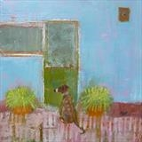 Lurcher At Back Door by Anna Wilson-Patterson, Painting, Oil on Wood