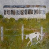 Lurcher At Rye Harbour Railway Carriage by Anna Wilson-Patterson, Painting, Oil on Wood