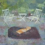 Lurcher In Giant Bean Bag by Anna Wilson-Patterson, Painting, Oil on Wood