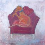 Lurcher In Red Chair by Anna Wilson-Patterson, Painting, Oil on Wood