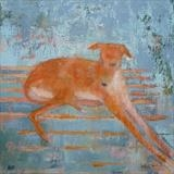 Lurcher On Striped Rug by Anna Wilson-Patterson, Painting, Oil on Wood