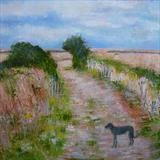 Lurcher On Teasel Footpath by Anna Wilson-Patterson, Painting, Oil on Wood