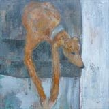 Lurcher With Dangly Legs by Anna Wilson-Patterson, Painting, Oil on Wood