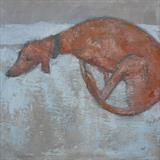 Lurcher on Duvet by Anna Wilson-Patterson, Painting, Oil on Wood
