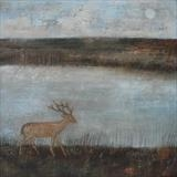 Midwinter Deer by Anna Wilson-Patterson, Painting, Oil on Wood
