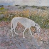 Molly On Shingle, Winchelsea Beach by Anna Wilson-Patterson, Painting, Oil on panel