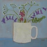 Mug Of Spring Flowers by Anna Wilson-Patterson, Painting, Oil on panel