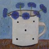 My First Cornflowers by Anna Wilson-Patterson, Painting, Oil on Wood