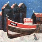 Net Huts In The Snow by Anna Wilson-Patterson, Painting, Oil on Wood