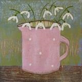 Nine Snowdrops by Anna Wilson-Patterson, Painting, Oil on Wood