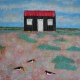 Oystercatchers At The Red Hut by Anna Wilson-Patterson, Painting, Oil on Wood