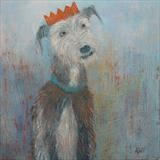 Party Bedlington Whippet by Anna Wilson-Patterson, Painting, Oil on Wood