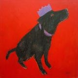Party Labrador by Anna Wilson-Patterson, Painting, Oil on Wood