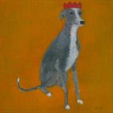 Party Whippet by Anna Wilson-Patterson, Painting, Oil on Wood