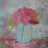 Pink Hydrangea by Anna Wilson-Patterson, Painting, Oil on Board