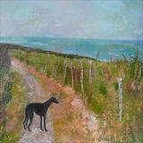 Pippa On Fairlight Cliffs by Anna Wilson-Patterson, Painting, Oil on Wood