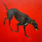 Playful Hound by Anna Wilson-Patterson, Painting, Oil on Wood