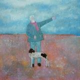Pointers At Pevensey by Anna Wilson-Patterson, Painting, Oil on Wood