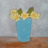 Primroses In A Gopsall Pot by Anna Wilson-Patterson, Painting, Oil on panel