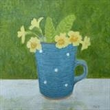 Primroses In Sophie's Cup by Anna Wilson-Patterson, Painting, Oil on Wood