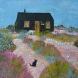 Prospect Cottage Cat by Anna Wilson-Patterson, Painting, Oil on Wood