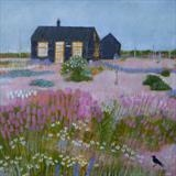Prospect Cottage Crow by Anna Wilson-Patterson, Painting, Oil on Wood