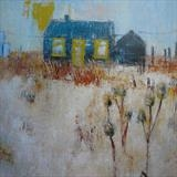 Prospect Cottage Winter Dungeness Card by Anna Wilson-Patterson, Painting, Ink on Paper