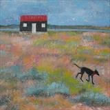 Puppy At The Red Hut by Anna Wilson-Patterson, Painting, Oil on Wood