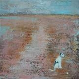 Puppy at Camber Sands by Anna Wilson-Patterson, Painting, Oil on Wood