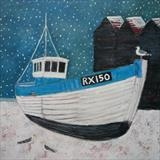 RX150 In The Snow by Anna Wilson-Patterson, Painting, Oil on Wood