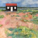 Red Hut, Rye Harbour June by Anna Wilson-Patterson, Painting, Oil on Wood