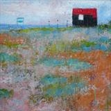 Red Hut, Rye Harbour, May by Anna Wilson-Patterson, Painting, Oil on Board