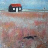Red Hut With Shingle by Anna Wilson-Patterson, Painting, Oil on canvas