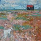 Red Hut and Frank The Lurcher by Anna Wilson-Patterson, Painting, Oil on Wood