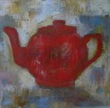 Red Teapot by Anna Wilson-Patterson, Painting, Oil on canvas