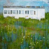 Rye Harbour Railway Carriage and Gull by Anna Wilson-Patterson, Painting, Oil on Wood