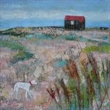 Scruffy Lurcher At The Red Hut by Anna Wilson-Patterson, Painting, Oil on Wood