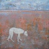 Scruffy Lurcher Low Tide by Anna Wilson-Patterson, Painting, Oil on Wood