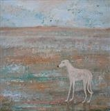 Scruffy Lurcher On Sand by Anna Wilson-Patterson, Painting, Oil on Wood